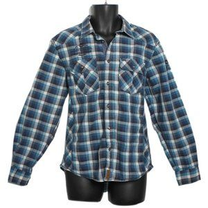 POINT ZERO Plaid Shirt Button Up Preppy Elbow Pads